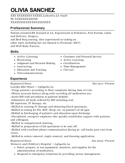 Registered Nurse resume example Louisiana
