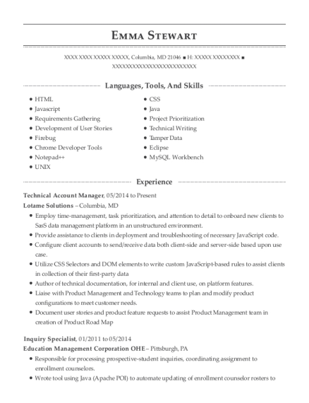 Technical Account Manager resume template Maryland