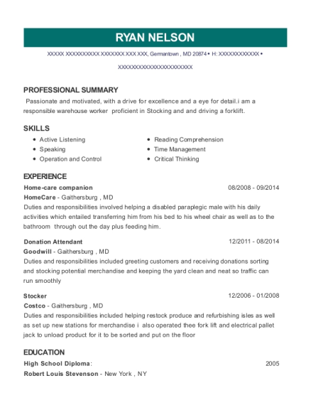 goodwill industries donations attendant resume sample