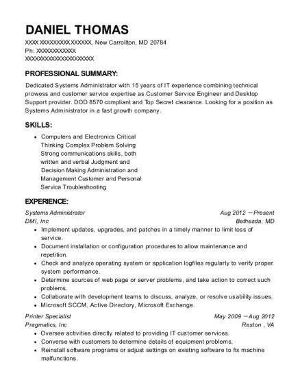 Systems Administrator resume sample Maryland
