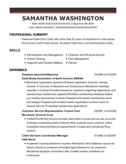 Database Specialist resume format Maryland