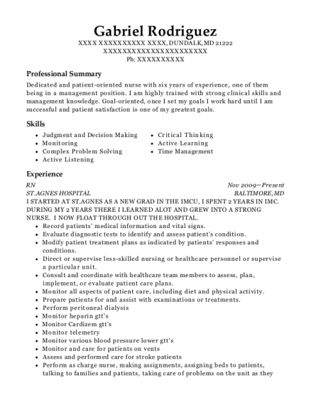 RN resume template Maryland
