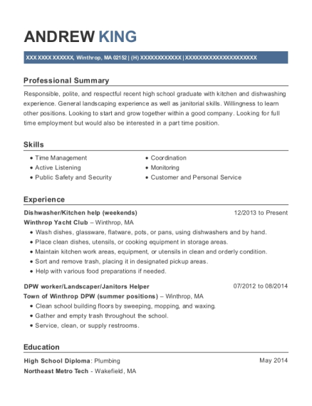 Dishwasher resume sample Massachusetts