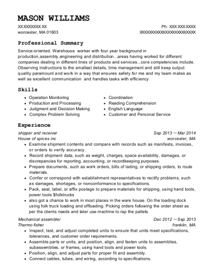 shipper and receiver resume example Massachusetts