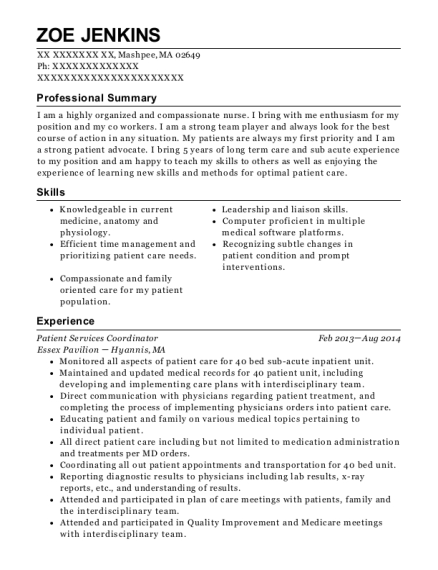 Patient Services Coordinator resume sample Massachusetts
