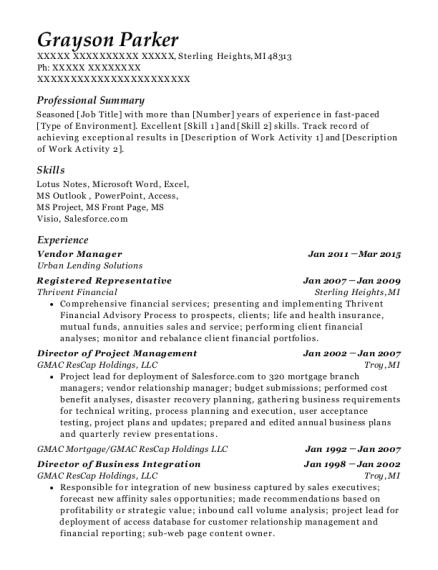 Vendor Manager resume sample Michigan