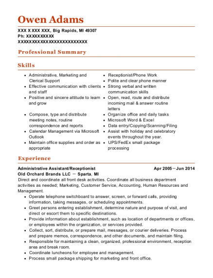 Administrative Assistant resume format Michigan