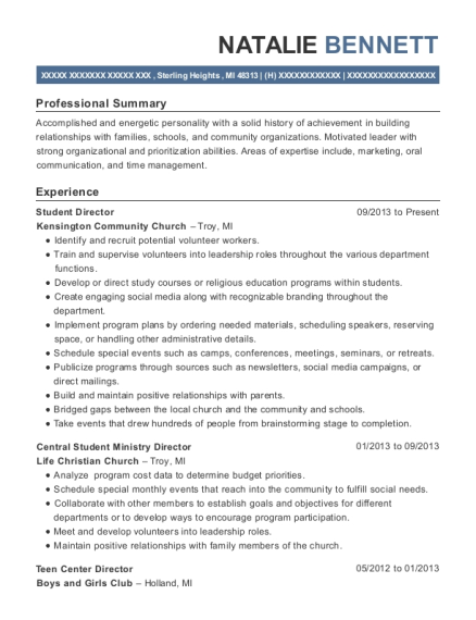 chelsea place care center recreation director resume