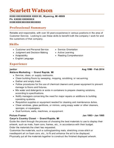 janitor resume example Michigan