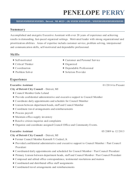 Executive Assistant resume template Michigan