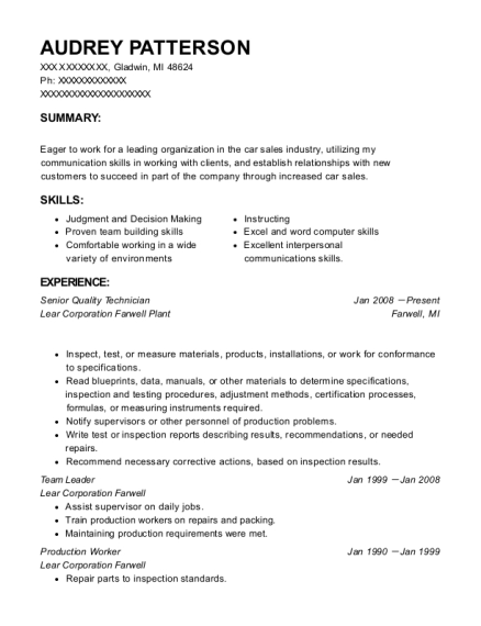Senior Quality Technician resume example Michigan