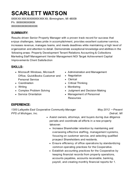 1300 Lafayette East Cooperative Community Manager resume template Michigan