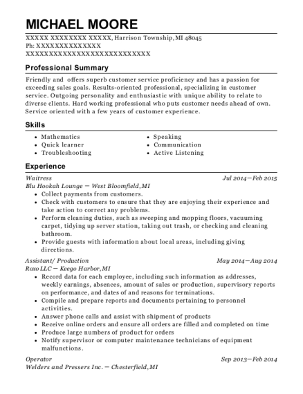 Waitress resume sample Michigan