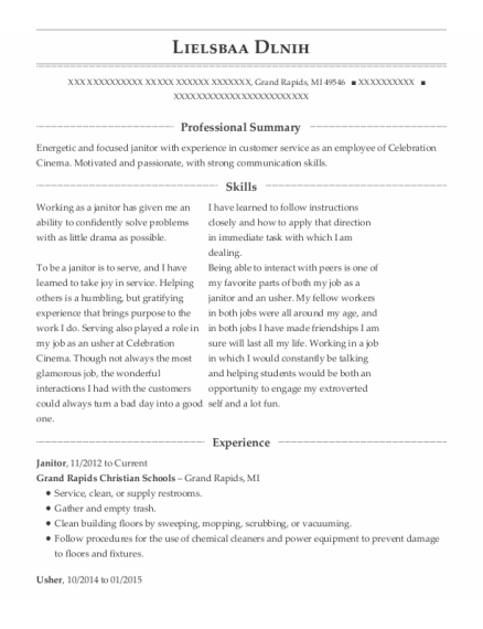 Janitor resume template Michigan