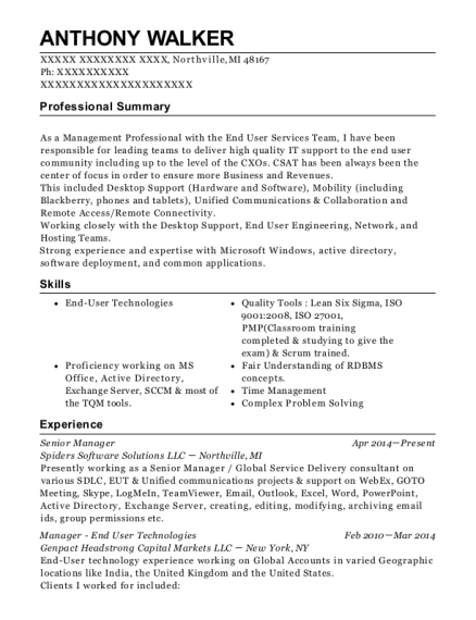 Senior Manager resume sample Michigan