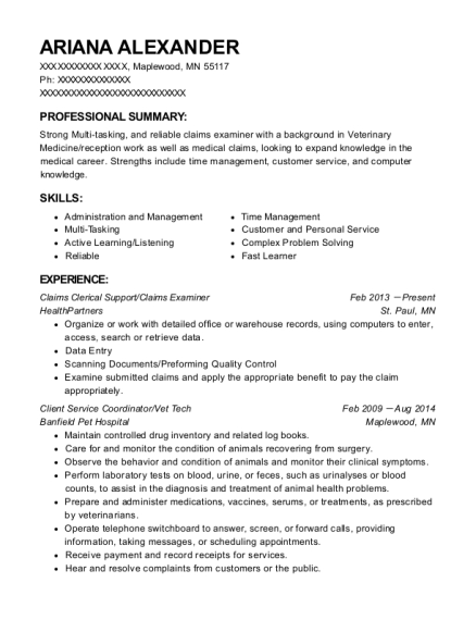 Claims Clerical Support resume sample Minnesota