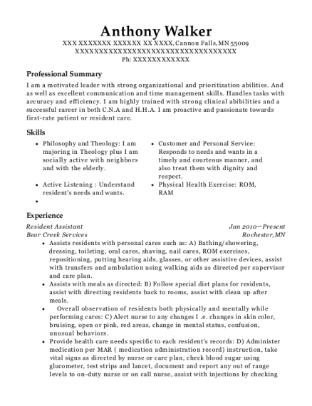 Resident Assistant resume example Minnesota