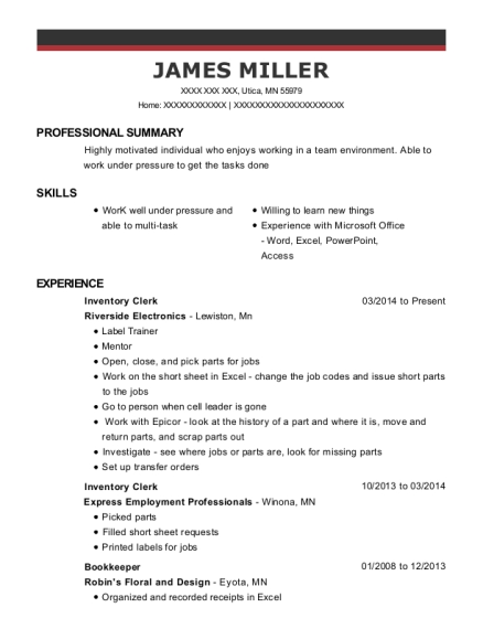 Inventory Clerk resume template Minnesota