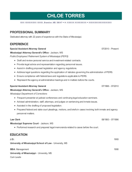 state of texas assistant attorney general resume sample