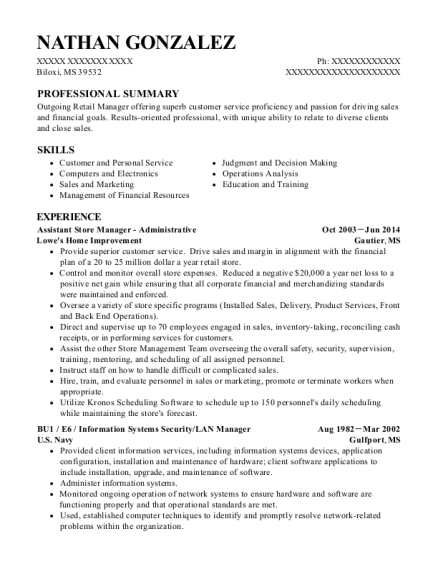 Assistant Store Manager Administrative resume template Mississippi