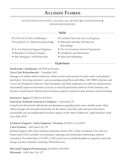Stockroom Coordinator resume sample Missouri