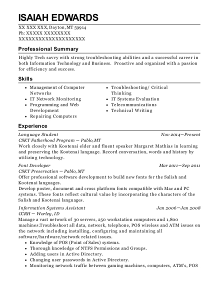 Language Student resume template Montana