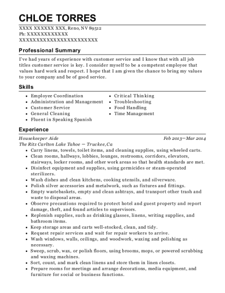 veterans affairs nchcs housekeeping aide resume sample