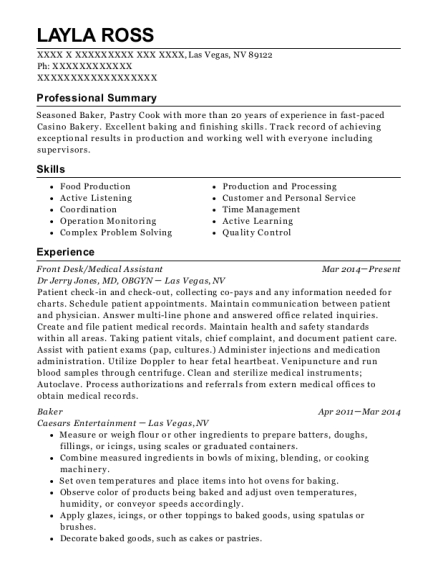 Front Desk resume format Nevada