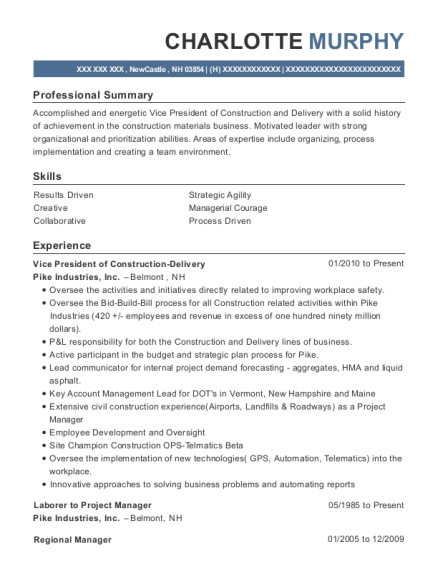 Vice President of Construction Delivery resume example New Hampshire