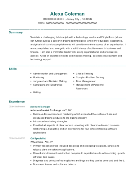 Account Manager resume sample New Jersey