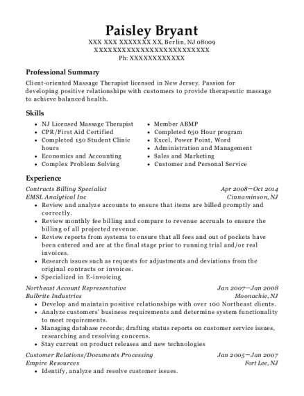 Contracts Billing Specialist resume example New Jersey