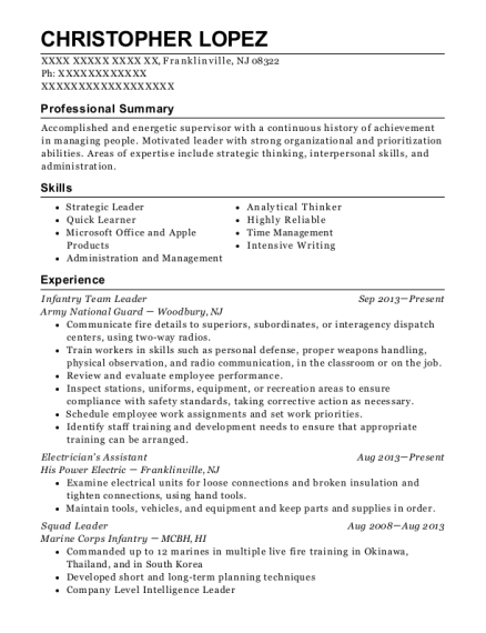 Infantry Team Leader resume template New Jersey