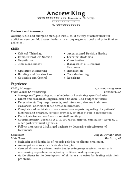 Ficilty Manager resume example New Jersey