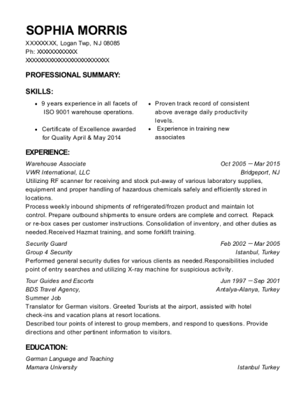 Warehouse Associate resume sample New Jersey