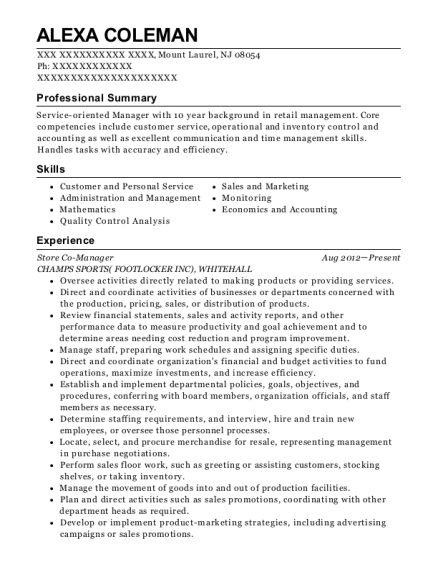 Store Co Manager resume format New Jersey