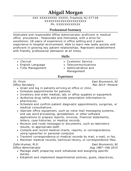 Office Secretary resume template New Jersey