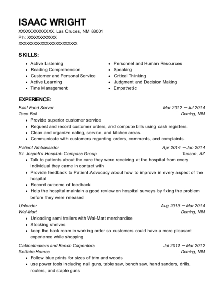 Fast Food Server resume sample New Mexico