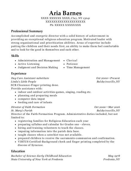 Day Care Assistant substitute resume template New York
