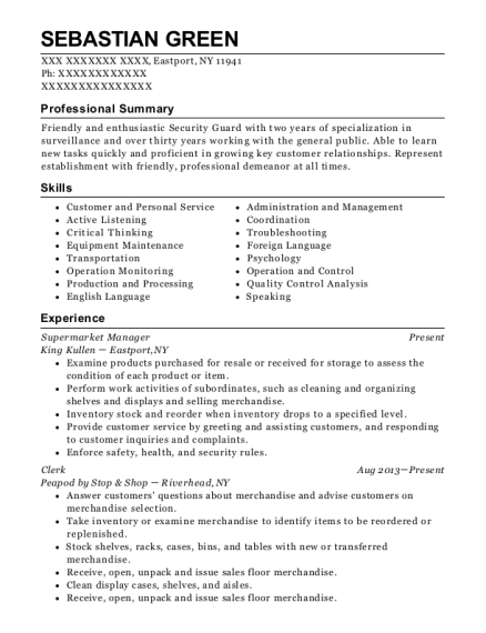 Supermarket Manager resume template New York