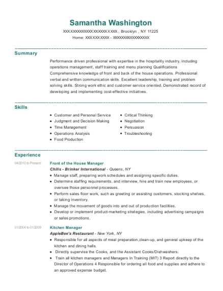 Front of the House Manager resume sample New York