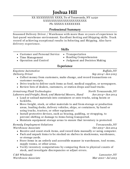 Delivery Driver resume template New York