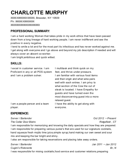 Server resume example New York