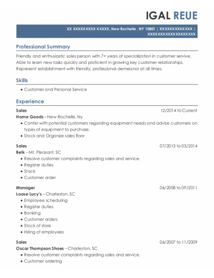 Sales resume format New York