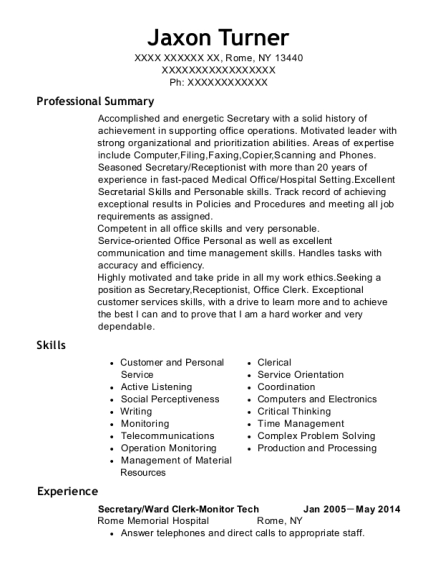Secretary resume format New York