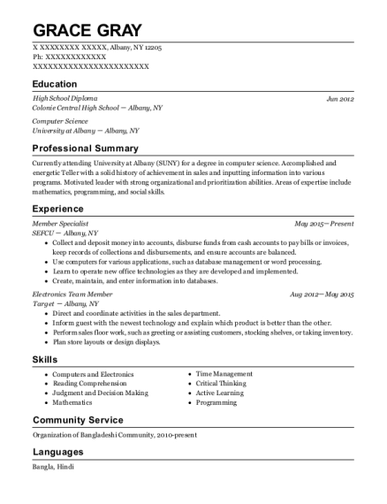 Member Specialist resume template New York