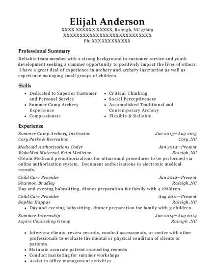 Summer Camp Archery Instructor resume example North Carolina