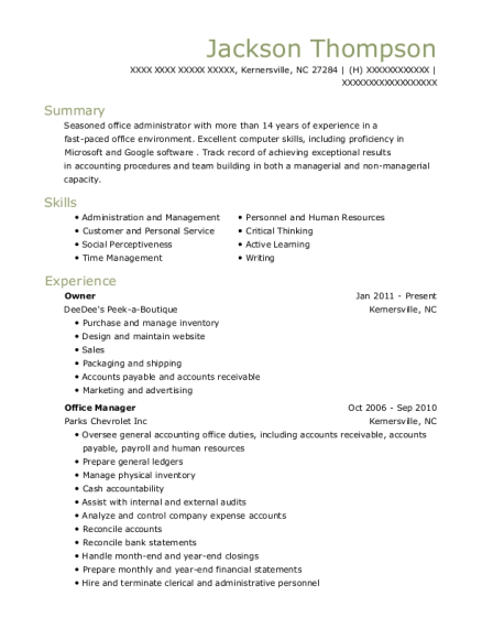 Owner resume format North Carolina