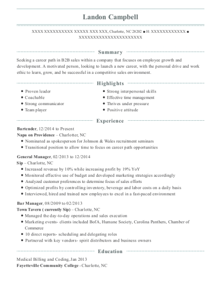 Bartender resume format North Carolina