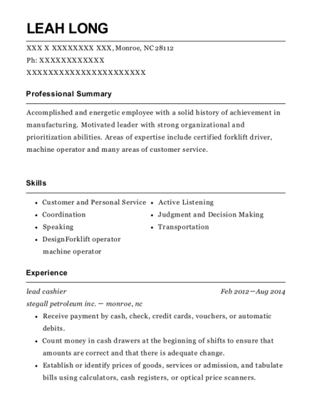 Lead Cashier resume template North Carolina