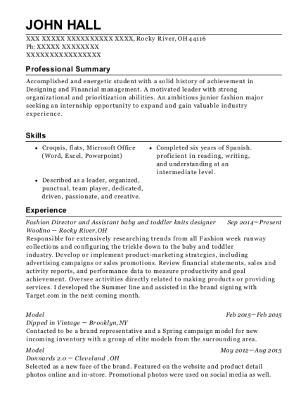 Fashion Director and Assistant baby and toddler knits designer resume format Ohio